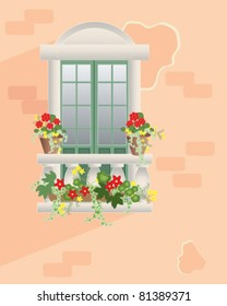 flowers in plant pots around an ornate window with decorative balustrade set in a textured pale terracotta wall in eps 10 vector format