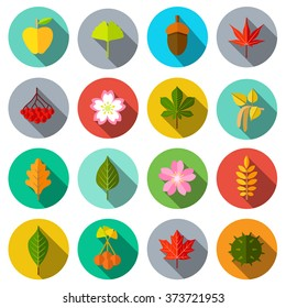 Flowers, plants and trees icons. Vector illustration