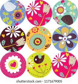 Flowers polka dot. Vector seamless pattern.