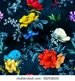 Flowers. Poppy, wild roses, cornflower with leaves on dark blue. Seamless background pattern. Hand drawn. Watercolor. Vector - stock.
