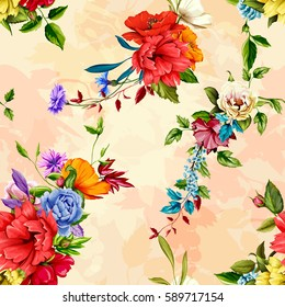 Flowers. Poppy, wild roses, cornflower with peony and leaves on pastel watercolor. Seamless background pattern. Hand drawn. Vector - stock.