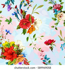 Flowers. Poppy, wild roses, rose, chamomile(camomile), cornflower with lily of the valley and leaves on light calm background. Seamless background pattern. Hand drawn. Vector - stock.