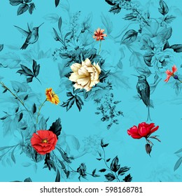 花。 罂粟,野玫瑰,玫瑰,洋甘菊(甘菊),矢车菊与山谷百合和蓝色背景两只蜂鸟。 无缝图案。 手绘。 向量-库存