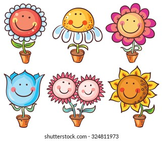 Flowers in pots as happy cartoon characters with faces