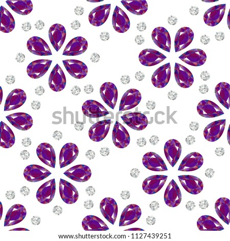 Flowers from precious stones. Seamless Pattern. Jewelry. For shops, websites fabrics packaging. White background