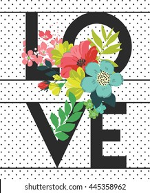 Flowers print slogan. For t-shirt or other uses,in vector.