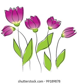 Flowers - purple tulips, vector illustration
