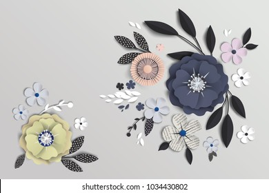 flowers with realistic shadow to banner or promotions. Background with anemones can be used for a magazine, web, advertising.