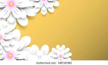 flowers with realistic shadow to banner or promotions