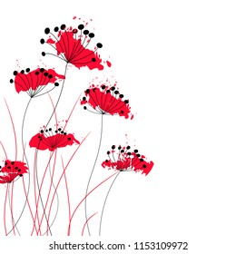 Flowers red and black on white background