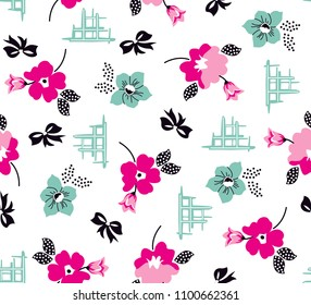 Flowers and ribbons pattern for textile print,fashion design,fabric texture