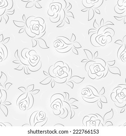 Flowers. Roses. Floral seamless pattern. Monochrome background.