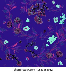 Flowers of roses and poppies, twigs of grass and leaves on neon purple violet background. Seamless vector pattern. Illustration with plants.