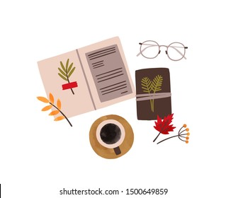 Flowers scrapbooking hobby flat vector illustration. Herbarium collecting, plants studying accessories isolated on white background. Copybook with dried leaves, coffee cup and glasses composition.