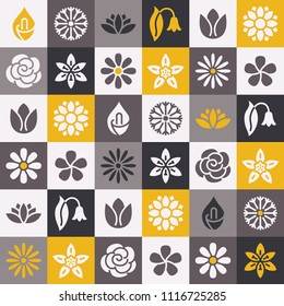 Flowers seamless pattern with flat glyph icons. Floral background beautiful garden plants chamomile, sunflower, rose flower, lotus, carnation, dandelion, violet blossom. Black gray yellow white color.
