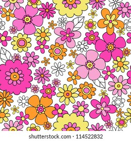 Flowers Seamless Pattern Psychedelic Groovy Floral Flower Power Notebook Doodle Design- Hand-Drawn Vector Illustration Background
