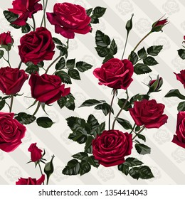 Flowers seamless pattern. Red roses and leaves.