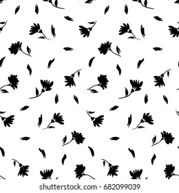 Flowers seamless pattern, vector, black and white