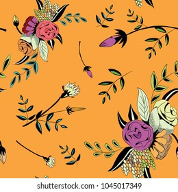 Flowers seamless pattern. Vector illustration of beautiful flowers and leaves on orange background.