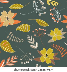 Flowers seamless pattern. Vector illustration of spring flowers with leaves on dark grey background