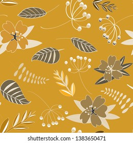 Flowers seamless pattern. Vector illustration of spring flowers with leaves on golden background