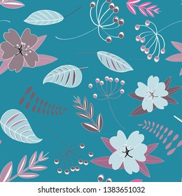 Flowers seamless pattern. Vector illustration of spring flowers with leaves on blue background