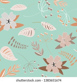 Flowers seamless pattern. Vector illustration of spring flowers with leaves on light turquoise background