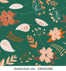 Flowers seamless pattern. Vector illustration of spring flowers with leaves on dark green background