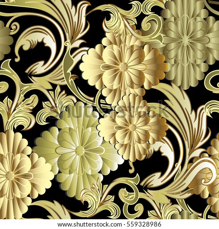 Flowers Seamless PatternFloral Black Background Wallpaper With Vintage Decorative 3d Gold Antique