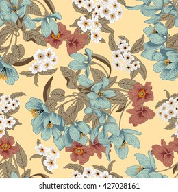 Flowers. Seamless vector background. Flower texture. Floral pattern. Vintage. Classic. Botany.