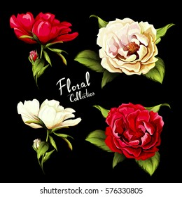 Flowers. Set of four different colored flowers. Wild roses. Hand drawn illustration, vector - stock