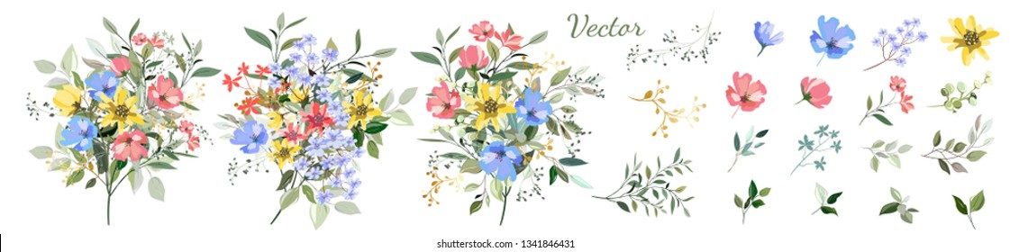 Flowers. Set: leaves, wildflowers, twigs, floral arrangements and designer vector hand drawn elements.