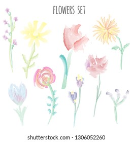 Flowers set with simple forms, vector graphic illustration