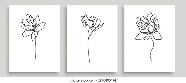 Flowers Set Vector Hand Drawn Line Art Drawing. Minimalist Trendy Contemporary Floral Design Perfect for Wall Art, Prints, Social Media, Posters, Invitations, Branding Design.