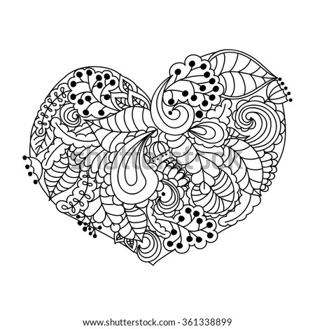 Flowers In The Shape Of A Heart Black And White Template For Coloring Floral