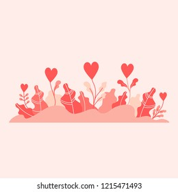 Flowers in shape of hearts with leaves. Flat design vector illustration concept for charity, help, supporting, work of volunteers isolated on stylish background
