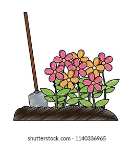 Flowers with shovel scribble