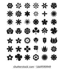 Flowers silhouette icon set nature concept