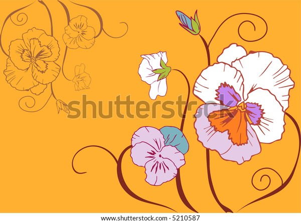 Flowers simplistic vector illustration on yellow background