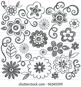 Flowers Sketchy Doodles Hand-Drawn Back to School Notebook Vector Illustration Design Elements on Lined Sketchbook Paper Background