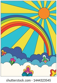 Flowers in the Sky, Psychedelic Art 1960s, 1970s Hippie Hand Drawn Style, Poster, Cover, Background