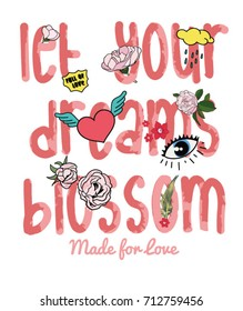 flowers slogan and patch