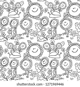 Flowers and snail black and white seamless pattern