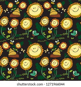 Flowers and snail coloured with black background seamless pattern