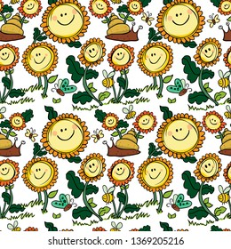 Flowers and snail coloured with white background seamless pattern