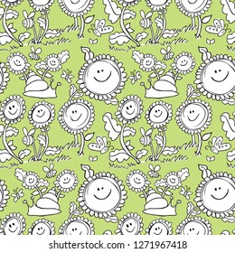 Flowers and snail pastel background pattern