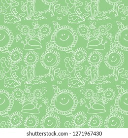 Flowers and snail white outline pastel green background pattern
