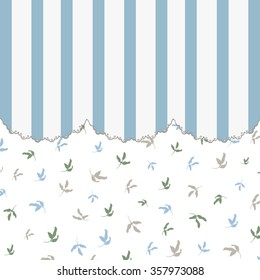 Flowers and stripes, Vintage background with flowers silhouettes and stripes, Retro background