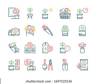 Flowers symbols color linear vector icon set. Outline symbol collection includes blooming flowers, potted plants, flower business, floristry, gardening and plant care. Profession and hobby concept