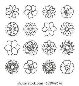 Flowers: thin monochrome icon set, black and white kit
